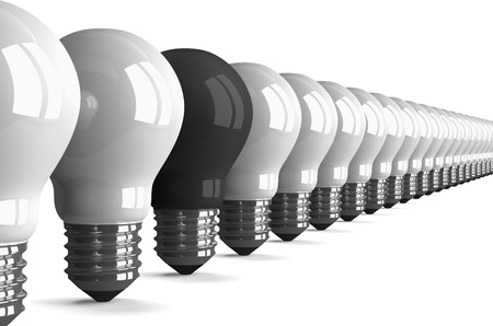 tungsten: Black tungsten light bulb and many white ones isolated on white, perspective view, 3d render Stock Photo