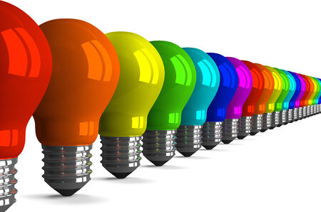 Many tungsten light bulbs of rainbow colors, perspective view, 3d render photo