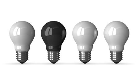 tungsten: Black tungsten light bulb and three white ones, front view, 3d render isolated on white Stock Photo
