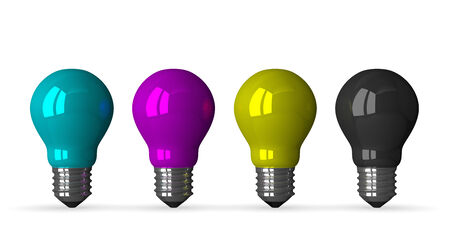 Cyan, magenta, yellow and black tungsten light bulbs, front view, 3d render isolated on white photo