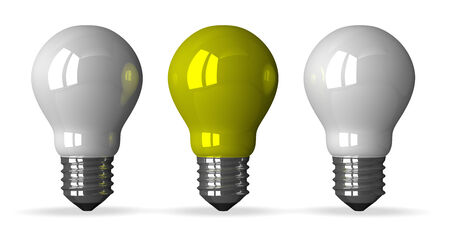 tungsten: Yellow tungsten light bulb and two white ones, front view, 3d render isolated on white Stock Photo