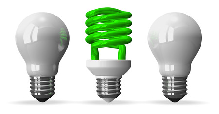 tungsten: Green fluorescent light bulb and two white tungsten ones, front view, 3d render isolated on white Stock Photo