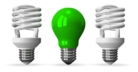 tungsten: Green tungsten light bulb and two white fluorescent ones, front view, 3d render isolated on white