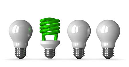 tungsten: Green fluorescent light bulb and three white tungsten ones, front view, 3d render isolated on white