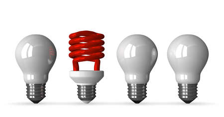 tungsten: Red fluorescent light bulb and three white tungsten ones, front view, 3d render isolated on white Stock Photo