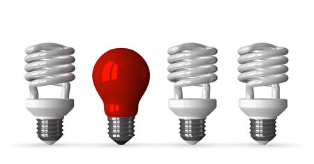 tungsten: Red tungsten light bulb and three white fluorescent ones, front view, 3d render isolated on white