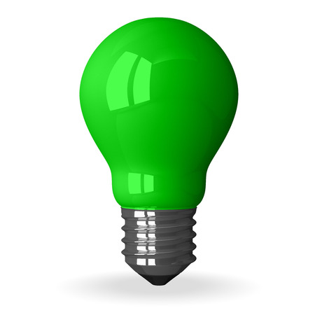 cleantech: Green tungsten light bulb standing, 3d render isolated on white