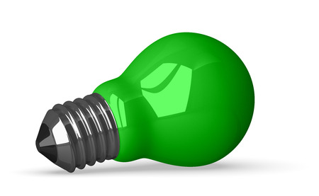 cleantech: Green tungsten light bulb lying, 3d render isolated on white Stock Photo