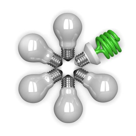 放射状に横になっているものは白い背景の上分離された白のタングステンの中で緑の蛍光灯電球