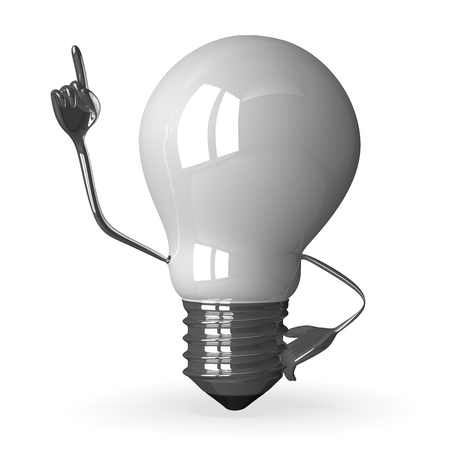 White tungsten light bulb character in moment of insight, 3d render isolated on white