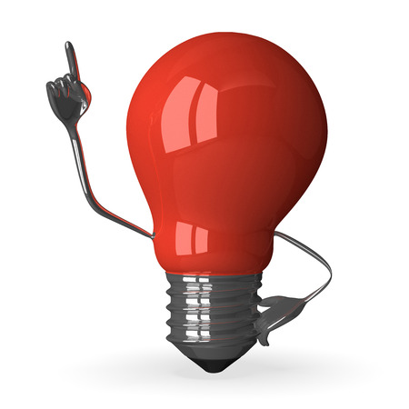 Red tungsten light bulb character in moment of insight, 3d render isolated on white