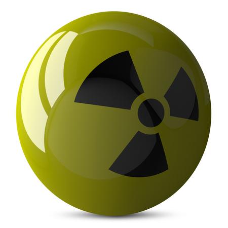 nuke plant: Esfera brillante de color amarillo con signo de radiaci�n, 3d aislado en blanco