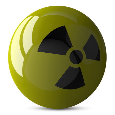 nuke plant: Yellow shiny sphere with radiation sign, 3d render isolated on white