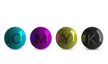 Row of four reflective spheres of CMYK colors: cyan, magenta, yellow and black, with corresponding letters, isolated on white