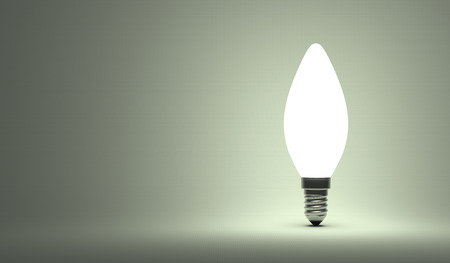 aha: Shining torpedo light bulb on gray background