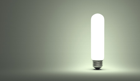 aha: Shining tubular light bulb on gray background Stock Photo