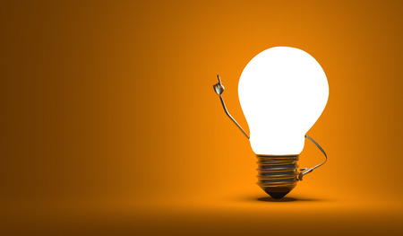 Glowing light bulb character in aha moment on orange background