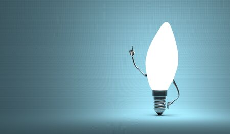 aha: Glowing torpedo light bulb character in aha moment on blue background Stock Photo