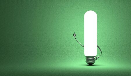 aha: Glowing tubular light bulb character in aha moment on green background