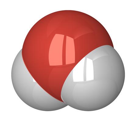 water molecule: Mol�cula de agua. Ox�geno - rojo, el hidr�geno - blanco Foto de archivo