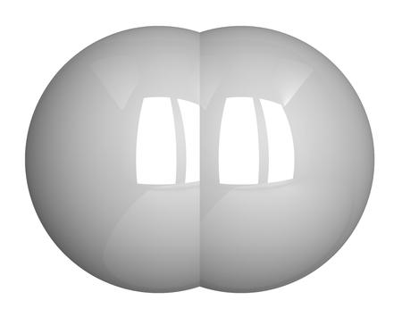 hidr�geno: Mol�cula de hidr�geno aislado en blanco, vista frontal Foto de archivo