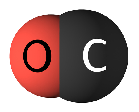 Carbon monoxide molecule isolated on white. Oxygen - red, carbon - black