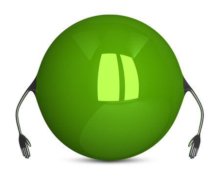 idle: Green sphere character, idle pose Stock Photo