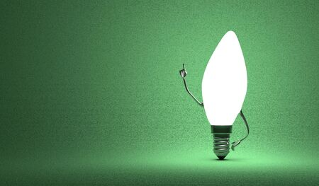 aha: Glowing torpedo light bulb character in aha moment on green background Stock Photo