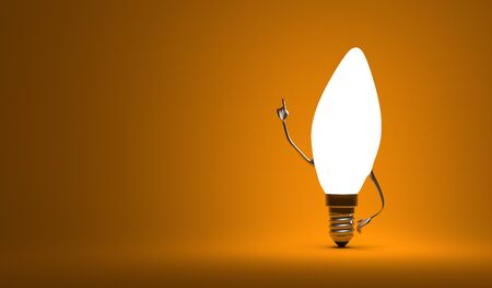 aha: Glowing torpedo light bulb character in aha moment on orange background