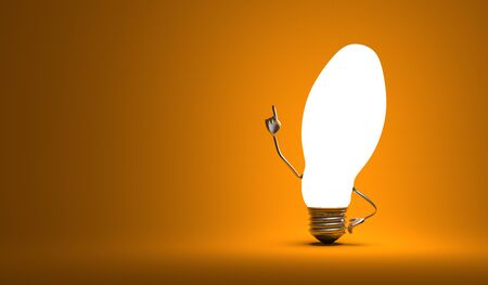 aha: Glowing ellipsoidal light bulb character in aha moment on orange background