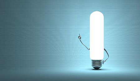 aha: Glowing tubular light bulb character in aha moment on blue background Stock Photo