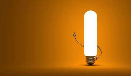 aha: Glowing tubular light bulb character in aha moment on orange  background