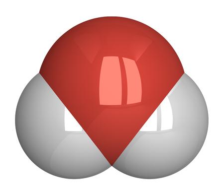 hidrogeno: Mol�cula de agua. Ox�geno - rojo, el hidr�geno - blanco Foto de archivo