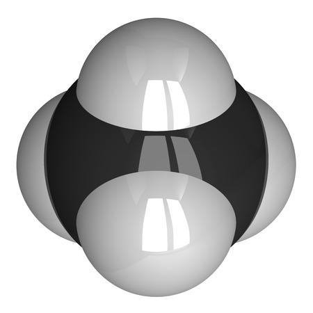 hidrogeno: Mol�cula de metano aislado en blanco. Hidr�geno - blanco, carbono - negro