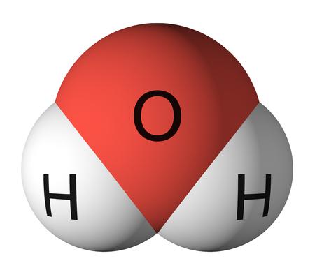 물 분자. 산소 - 빨간색, 수소 - 흰색