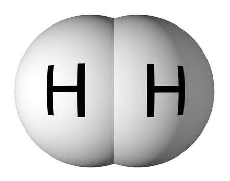 Hydrogen molecule isolated on white