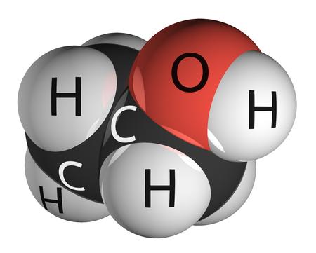 hidr�geno: Mol�cula de etanol aislado en blanco. Hidr�geno - blanco, carbono - negro, ox�geno - rojo