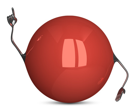 red sphere: Red sphere character in moment of insight isolated Stock Photo