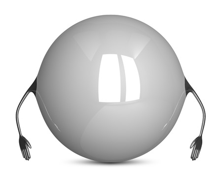 idle: White sphere character, idle pose Stock Photo