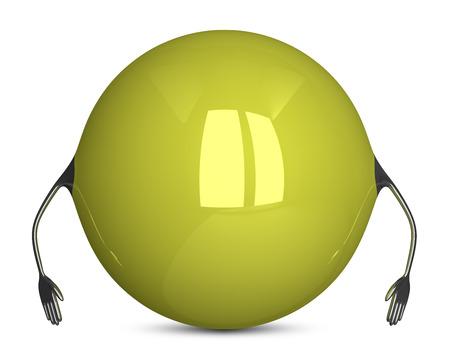holgaz�n: Amarillo car�cter esfera, pose inactivo Foto de archivo