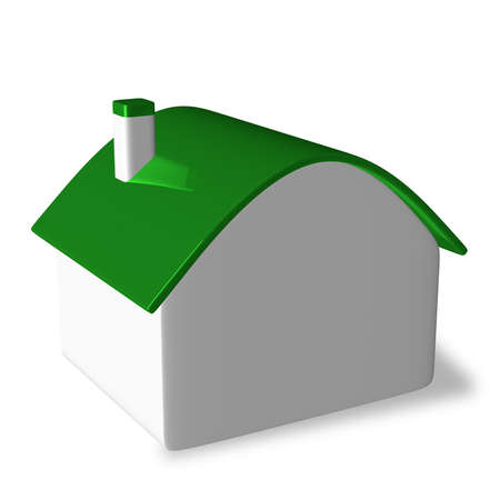 roundish: Simple white cottage with green roundish roof isolated