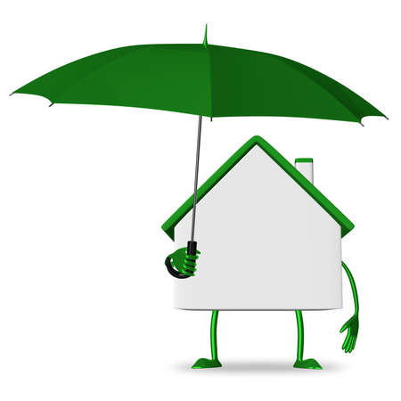White cottage with green umbrella isolated photo