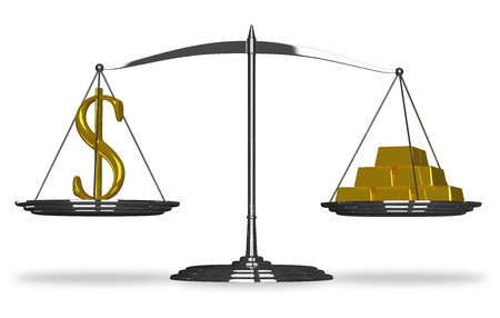 Dollar sign and gold bars on scales isolated photo
