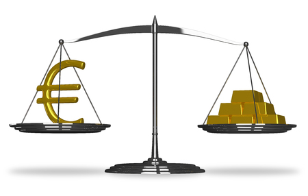 silver bullion: Euro sign and gold bars on scales isolated Stock Photo