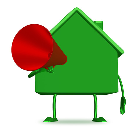 declare: Green cottage with megaphone isolated Stock Photo