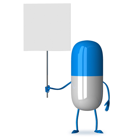 White and blue pill character holding blank placard isolated photo