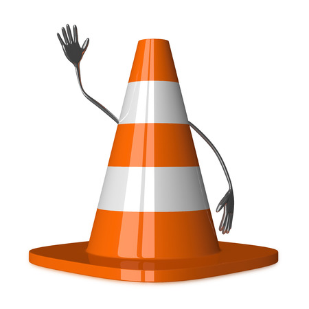 Traffic cone character waving hand isolated on white photo