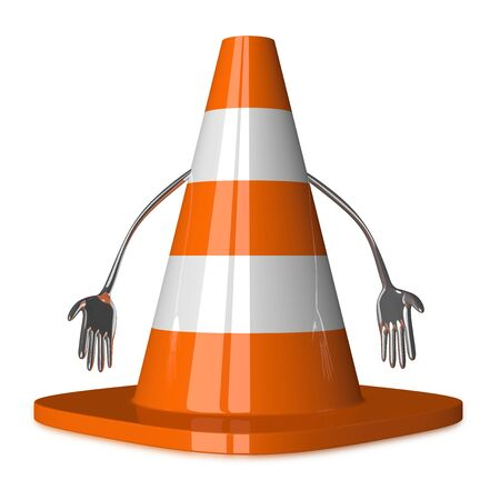 discouraged: Discouraged traffic cone character isolated on white, front view Stock Photo