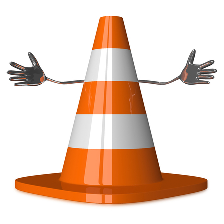 Welcoming traffic cone character isolated on white photo