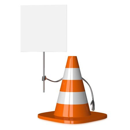 accident at work: Traffic cone character with placard isolated on white